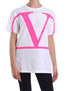 Valentino - VLogo t-shirt in white and fuchsia