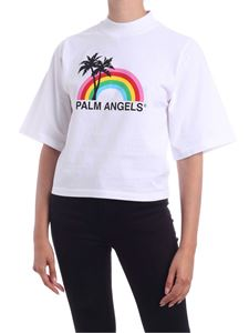 Palm Angels - Rainbow cropped T-shirt in white