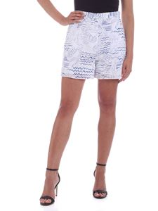 Kenzo - Wave Mermaids openwork details shorts in white and blue