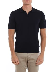 Tagliatore - Phil cotton short sleeve polo in dark blue