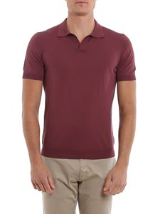Tagliatore - Phil cotton short sleeve polo in burgundy