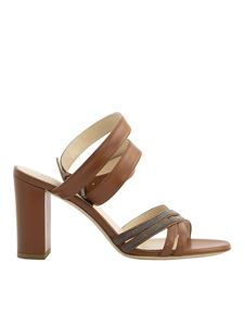 Fabiana Filippi - Lucia sandals with micro bead in brown