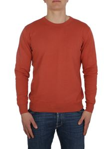 Altea - Linen and cotton red crew neck sweater