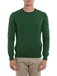 Fay - Blue details cotton pullover in green
