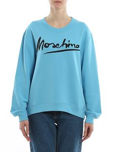 Moschino - Logo print cotton sweatshirt in light blue