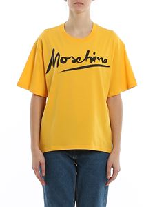 Moschino - Printed logo oversized T-shirt in yellow