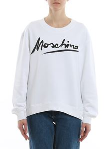 Moschino - Logo print cotton sweatshirt in white