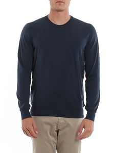 Fay - Logo embroidery crewneck pullover in blue