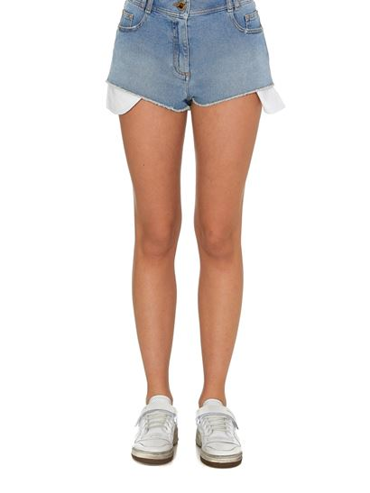 Balmain - Embroidered logo shorts in light blue