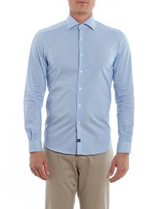 Fay - Striped poplin shirt in light blue and white