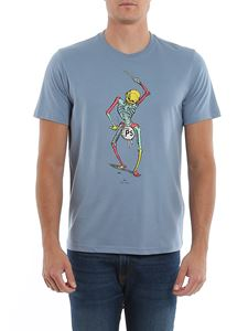 Paul Smith - Drum Skeleton print T-shirt in light blue
