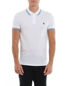 Paul Smith - Striped detail and patch polo shirt in white