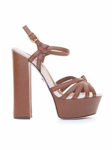 Dolce & Gabbana - Keira sandals with canvas inserts in brown