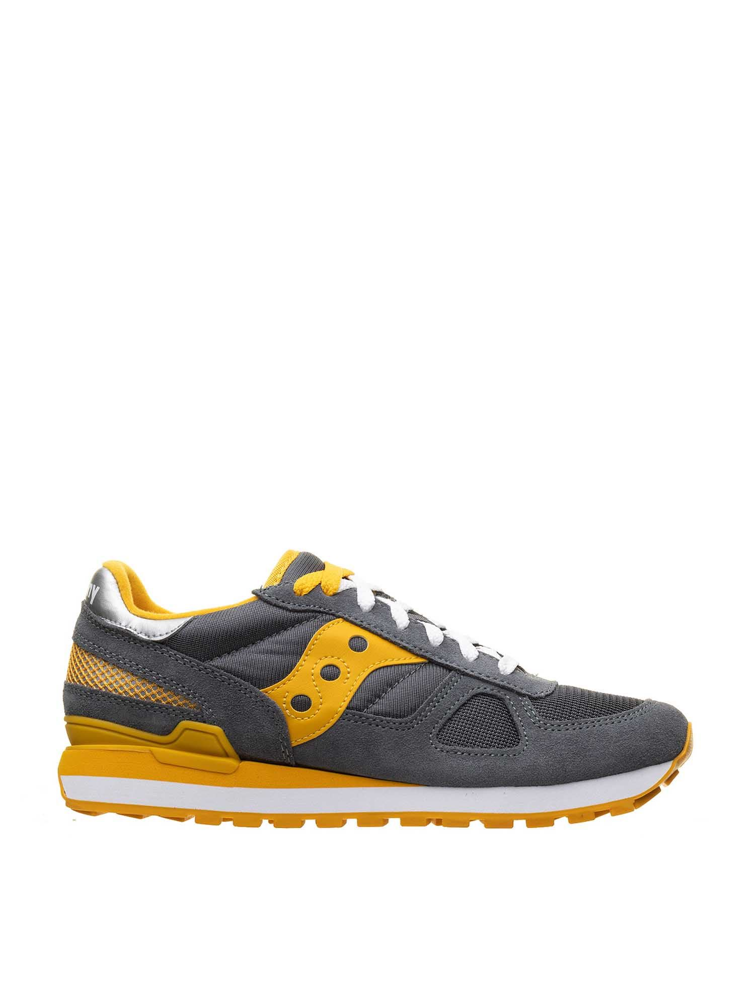 Saucony SHADOW ORIGINAL SNEAKERS IN GRAY AND YELLOW