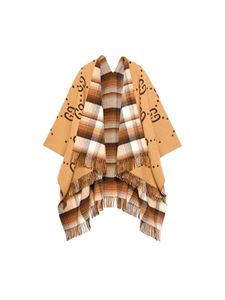 Gucci - Reversible poncho with logo in brown