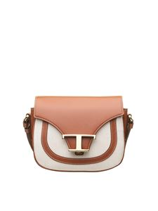 Tod's - Leather and micro canvas shoulder bag in brown