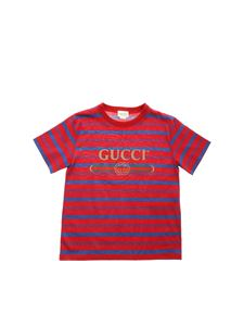 Gucci - Blue print T-shirt in cherry red