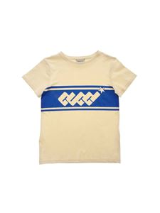Gucci - Electric blue logo T-shirt in cream color
