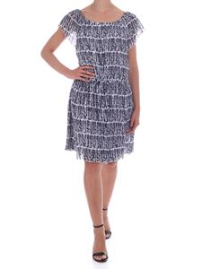 Kenzo - Printed pleated dress in white and blue
