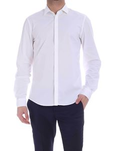 Dondup - Shirt in white with hidden buttons
