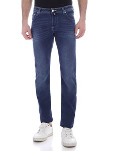 Jacob Cohën - Electric blue logo jeans in faded blue