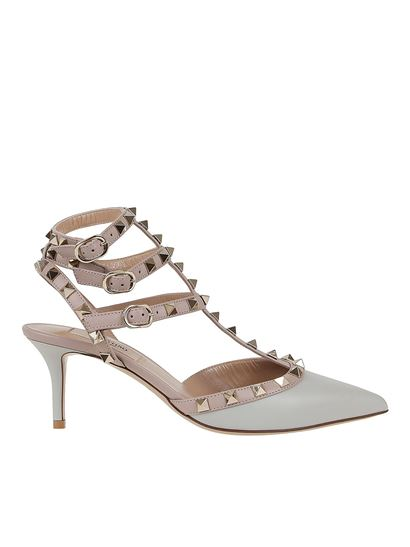 Valentino - Rockstud slingbacks décolleté with straps in grey