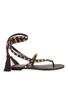Valentino - Rockstud thong sandals with tassels in black