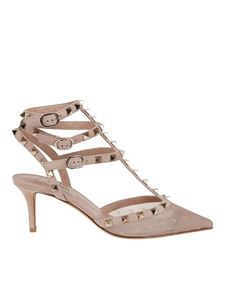 Valentino - Rockstud décolleté with tulle detail in pink