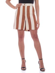 be Blumarine - Striped shorts in beige and brown