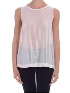 Lorena Antoniazzi - Nude effect lamè top in white