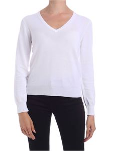 Kangra Cashmere - Pullover bianco con toppe in micro paillettes