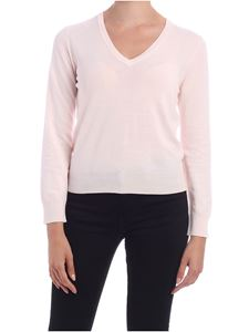 Kangra Cashmere - Pullover rosa con toppe in micro paillettes