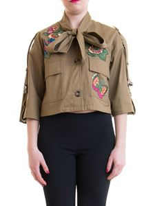 Red Valentino - Bird of Paradise embroidery caban crop in army green