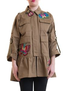 Red Valentino - Bird in the Forest caban in military green