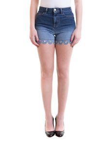 Red Valentino - Decorated bottom denim shorts in blue
