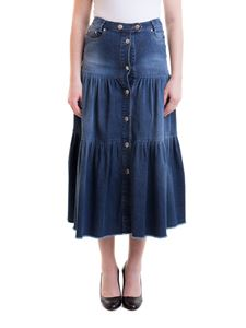 Red Valentino - Denim flounced midi skirt in blue