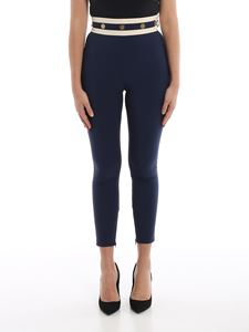 Elisabetta Franchi - Two-tone high waisted slim pants in blue