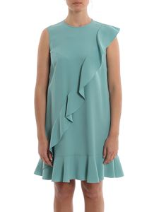 Red Valentino - Ruffled short dress in turquoise