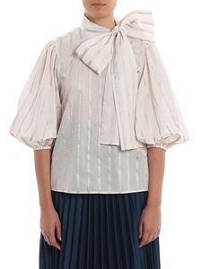 Red Valentino - Cotton and lamé stripe blouse in pink