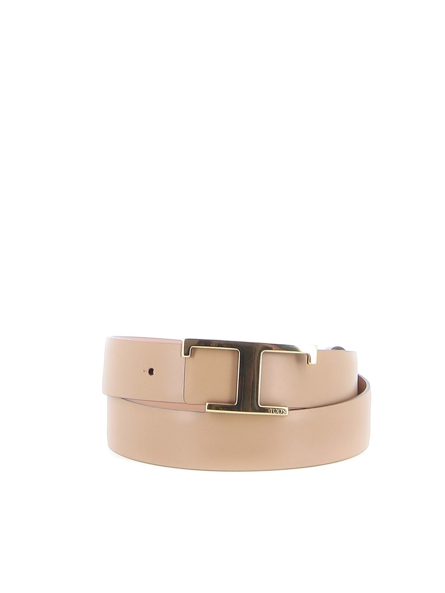 Tod's T BUCKLE LEATHER BELT IN PINK