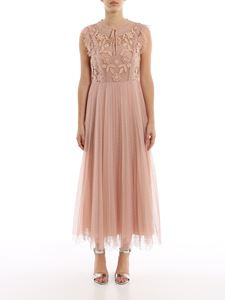 Red Valentino - Embroidered tulle long dress in pink