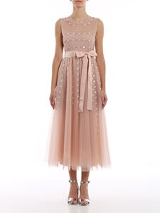 Red Valentino - Foral embroidery dress with belt in pink