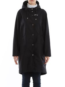 Fay - Technical fabric hooded coat in blue