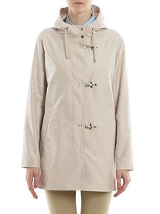 Fay - Technical fabric coat with hooks in beige