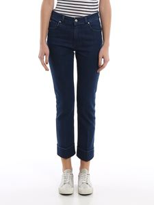 Fay - Cropped stretch jeans in blue