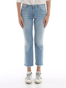 Fay - Cropped jeans with fringed bottom in light blue