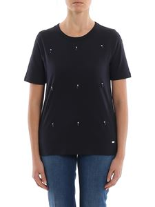 Fay - T-shirt with jewel detail in blue