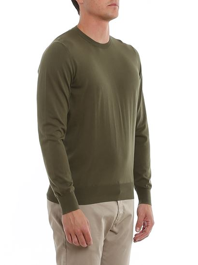 Fay - Logo embroidery crewneck sweater in green