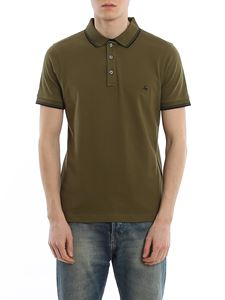 Fay - Logo lettering embroidery polo in green