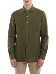 Fay - Linen shirt with logo patch in green